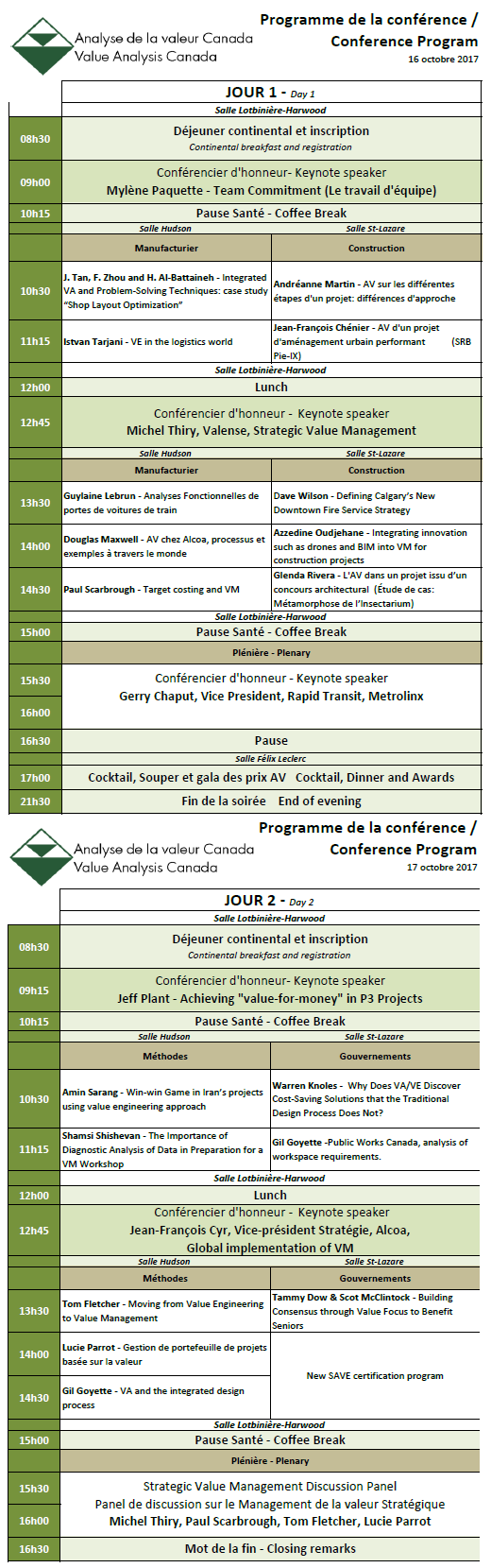 2017 Conference Program / Programme de la conférence